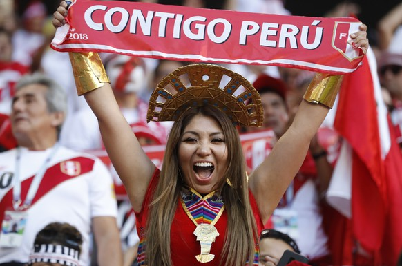A Peru national team's fan shouts prior to the group C match between Peru and Denmark at the 2018 soccer World Cup in the Mordovia Arena in Saransk, Russia, Saturday, June 16, 2018. (AP Photo/Efrem Lukatsky)