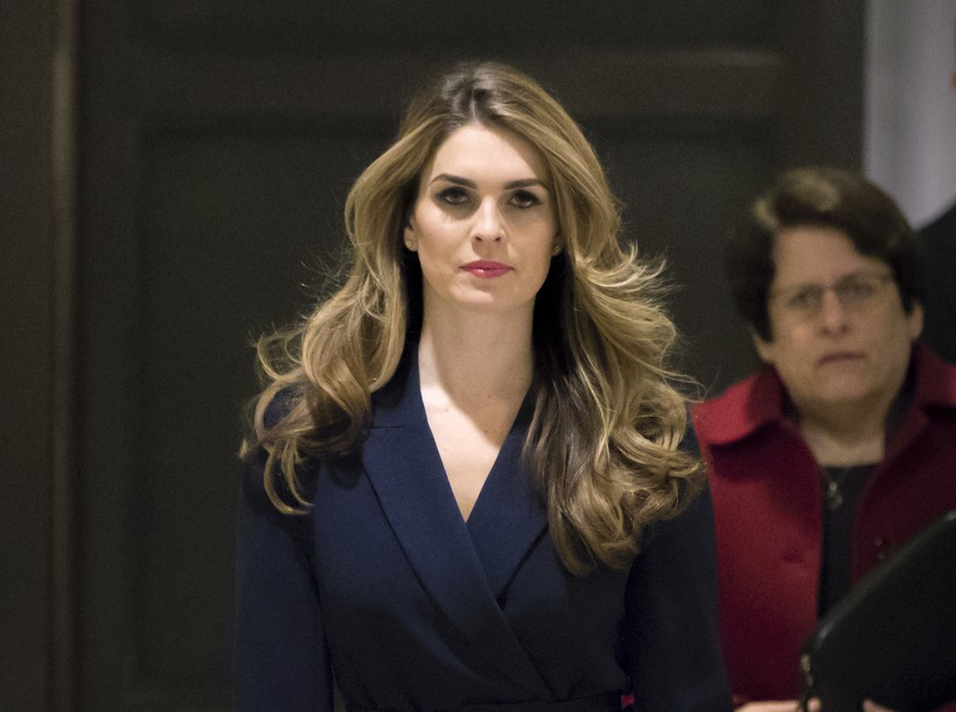 In this Feb. 27 2018 photo, White House Communications Director Hope Hicks, one of President Trump's closest aides and advisers, arrives to meet behind closed doors with the House Intelligence Committee, at the Capitol in Washington. (AP Photo/J. Scott Applewhite)