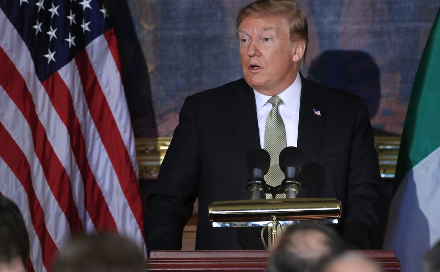 President Donald Trump speaks during a Friends of Ireland Luncheon on Capitol Hill, in Washington,Thursday, March 14, 2019. (AP Photo/Manuel Balce Ceneta)