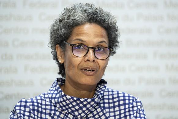 Linda Nartey, Kantonsaerztin Bern, aeussert sich an einem Point de Presse zum Coronavirus COVID -19, am Donnerstag, 9. Juli 2020, in Bern. (KEYSTONE/Peter Schneider)