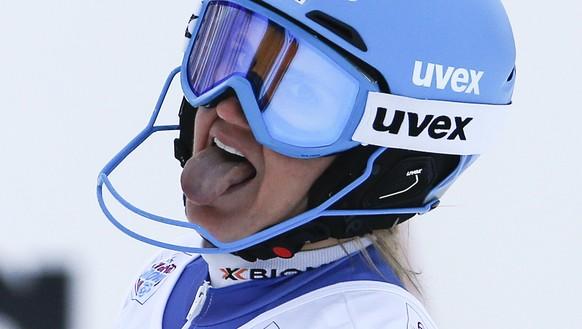 Joana Haehlen of Switzerland reacts in the finish area during the women's Slalom of the Alpine combination race at the FIS Alpine Ski World Cup, in St. Moritz, Switzerland, Friday, December 8, 2017. (KEYSTONE/Alexandra Wey)