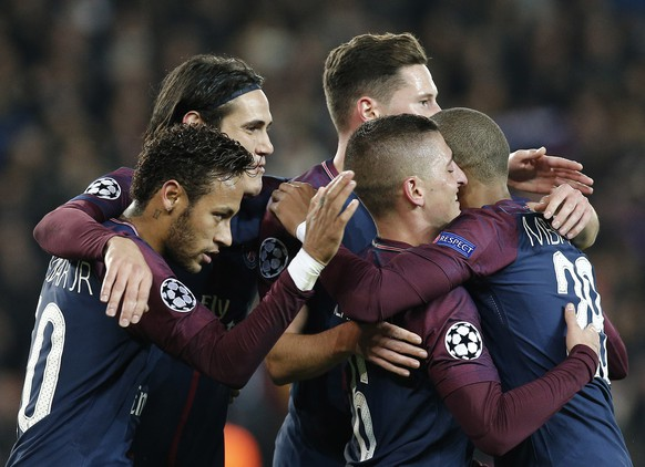 PSG's Marco Verratti, 2nd right, celebrates after scoring the opening goal with his teammates Kylian Mbappe, right, Julian Draxler, center, Edinson Cavani, 2nd left, and Neymar during a Champions League Group B soccer match between Paris Saint-Germain and Anderlecht at Parc des Princes stadium in Paris, France, Tuesday, Oct. 31, 2017. (AP Photo/Thibault Camus)
