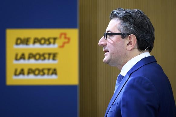 Roberto Cirillo, CEO Schweizerische Post AG, spricht waehrend der Bilanzmedienkonferenz die Post, am Donnerstag, 12. Maerz 2020, in Bern. (KEYSTONE/Anthony Anex)
