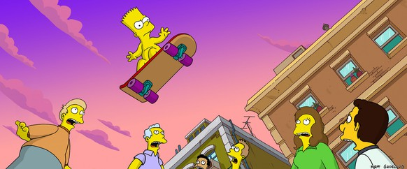 In this animated image created by Matt Groening and released by Twentieth Century Fox, Bart Simpson flies through the air in an epic skateboarding trip, in a scene from