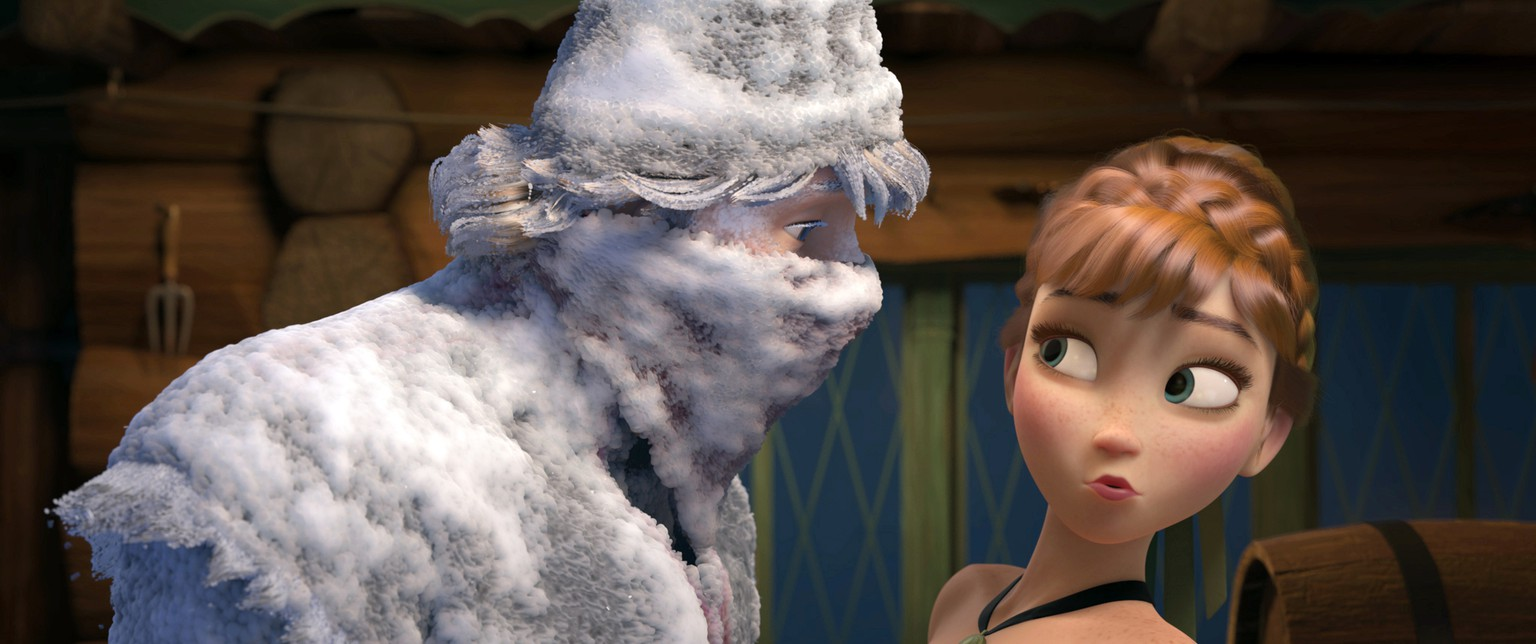 FILE - This file image released by Disney shows Kristoff, voiced by Jonathan Groff, left, and Anna, voiced by Kristen Bell, in a scene from the animated feature film,
