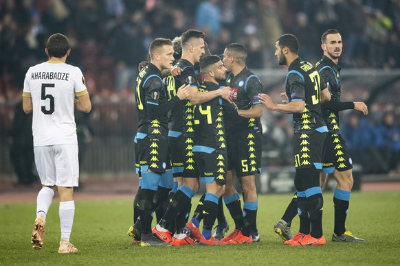 Napoli's Lorenzo Insigne, center, celebrates his 1:0 goal during the UEFA Europa League group stage soccer match between Switzerland's FC Zurich and Italian's SSC Neapel at the Letzigrund stadium in Zurich, Switzerland, on Thursday, February 14, 2019. (KEYSTONE/Ennio Leanza)