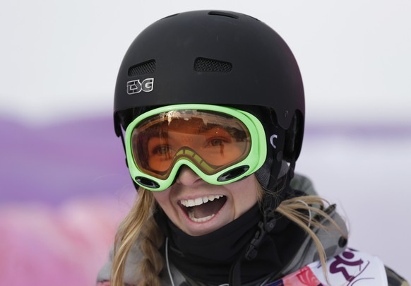 Switzerland's Camillia Berra reacts after a run in the women's freestyle skiing slopestyle qualifying at the Rosa Khutor Extreme Park at the 2014 Winter Olympics, Tuesday, Feb. 11, 2014, in Krasnaya Polyana, Russia. (AP Photo/Andy Wong)