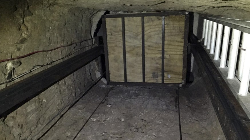 In this undated image provided by the United States Department of Justice, an elevator inside a tunnel stretching from Mexico to San Diego is seen. Officials announced the recent discovery of the nearly half-mile-long tunnel Wednesday, April 20, 2016, along with the seizure of more than a ton of cocaine and seven tons of marijuana. Six people were also arrested. (United States Department of Justice via AP)