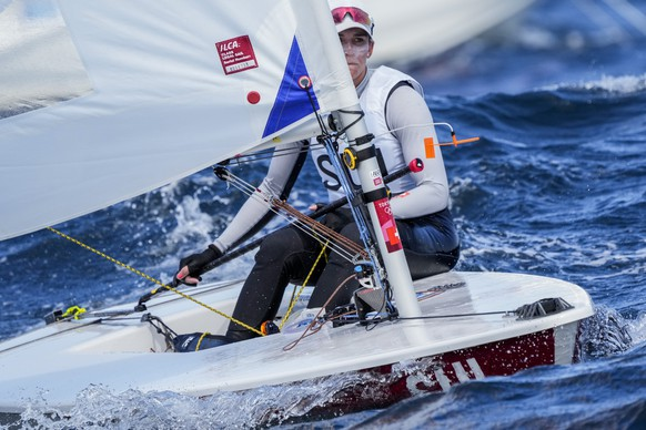 Switzerland's Maud Jayet competes during the Laser Radial women's race at the Enoshima harbour during the 2020 Summer Olympics, Thursday, July 29, 2021, in Fujisawa, Japan. (AP Photo/Bernat Armangue)