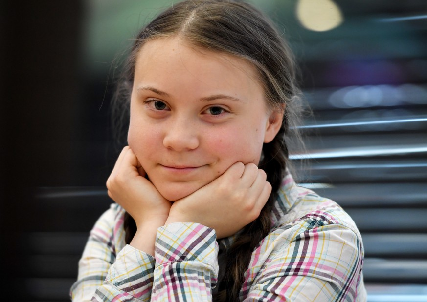 epa07631957 (FILE) - Swedish schoolgirl, climate activist Greta Thunberg during an event inside the Houses of Parliament in Westminster, London, Britain, 23 April 2019 (reissued 07 June 2019). Media reports on 07 June 2019 state Greta Thunberg and the Fridays for Future movement are to receive Amnesty International's highest award, the Ambassador of Conscience award.  EPA/FACUNDO ARRIZABALAGA
