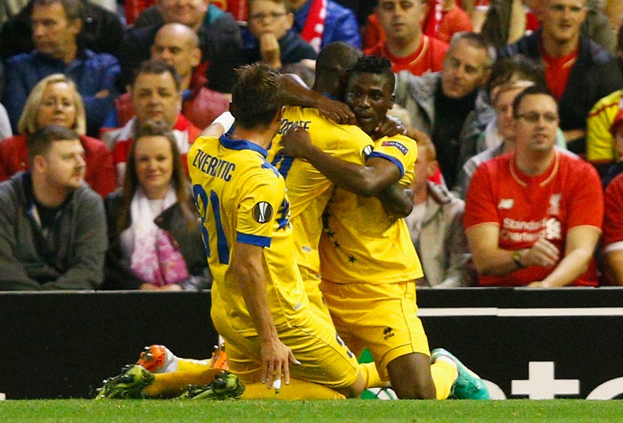 LIVERPOOL, ENGLAND - OCTOBER 01:  Ebenezer Assifuah of FC Sion celebrates scoring their first goal with team mates during the UEFA Europa League group B match between Liverpool FC and FC Sion at Anfield on October 1, 2015 in Liverpool, United Kingdom.  (Photo by Dean Mouhtaropoulos/Getty Images)