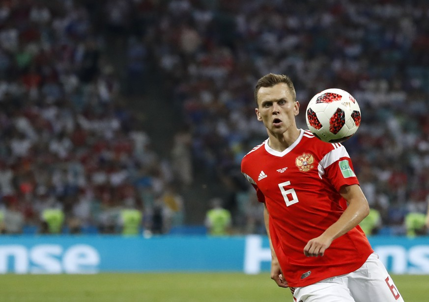 "FILE - In this Saturday, July 7, 2018 file photo, Russia's Denis Cheryshev controls the ball during their quarterfinal match against Croatia at the 2018 soccer World Cup in the Fisht Stadium, in Sochi, Russia. Valencia says it has reached an agreement with Villarreal for the loan of Russia forward Denis Cheryshev. The club said Tuesday, Aug, 14 the loan is ""pending formalization"" and will be valid until the end of the season. (AP Photo/Rebecca Blackwell, file)"