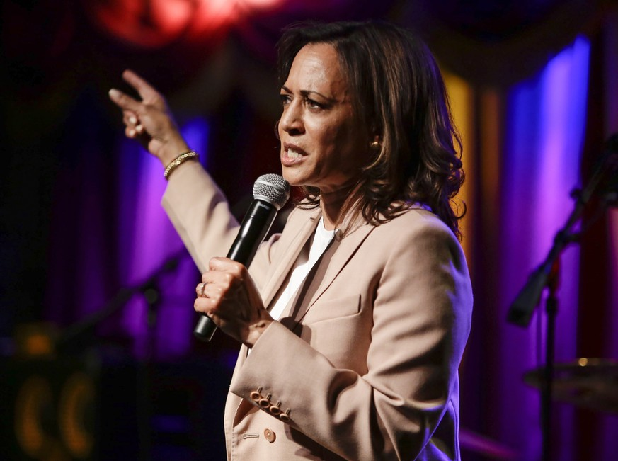 Democratic presidential candidate Sen. Kamala Harris, D-Calif., speaks to supporters Wednesday, July 10, 2019, in the Brooklyn borough of New York. (AP Photo/Frank Franklin II) Kamala Harris