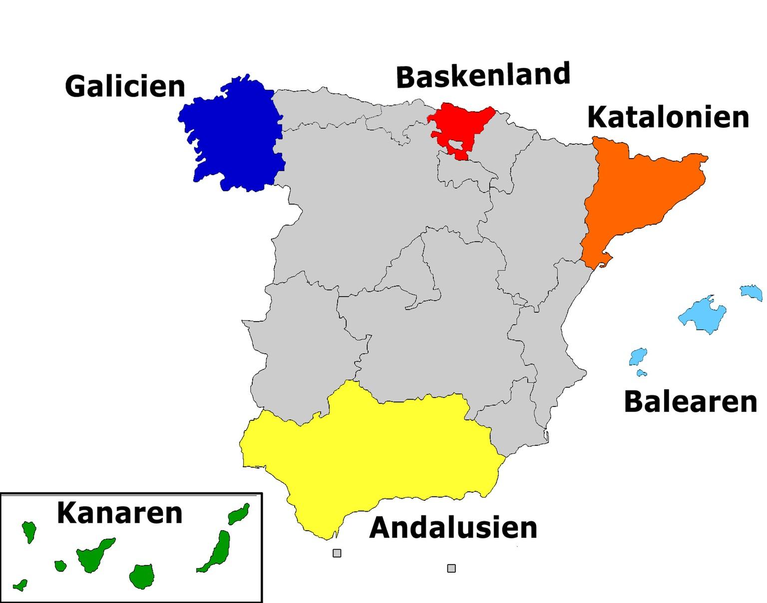 Spanien Katalonien Karte.Katalonien Und Co In Diesen 6 Regionen Sind Spaniens Separatisten