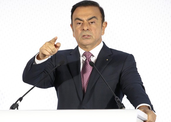 FILE - In this Feb. 12, 2015, file photo, Chairman and CEO of Renault-Nissan Carlos Ghosn addresses media during a press conference held in Paris. The board of French carmaker Renault SA plans to meet to choose new leadership to replace auto industry powerhouse Carlos Ghosn, fighting fraud charges in Japan. (AP Photo/Jacques Brinon, File)