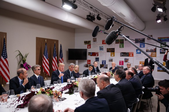 President Donald Trump speaks during a dinner with European business leaders at the World Economic Forum, Thursday, Jan. 25, 2018, in Davos. (AP Photo/Evan Vucci)