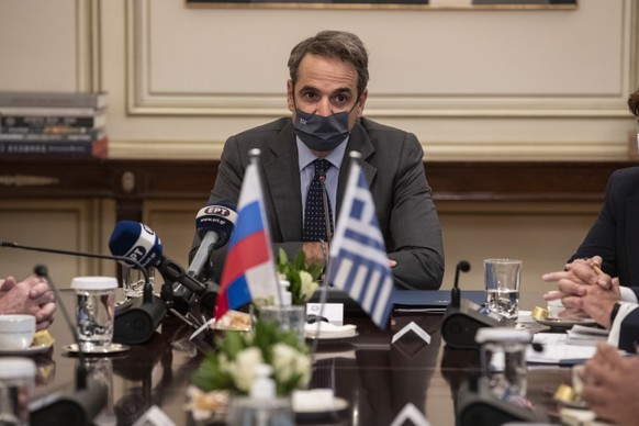 Greece's Prime Minister Kyriakos, speaks during his meeting with Russian Foreign Minister Sergei Lavrov, in Athens, Monday, Oct. 26, 2020. Tension with Turkey was one of the main topics of discussion between the Greek and Russian foreign ministers who met in Athens, as Greece and Turkey have been in a bitter dispute over maritime boundaries and energy exploration rights in the eastern Mediterranean. (AP Photo/Petros Giannakouris) Kyriakos Mitsotakis