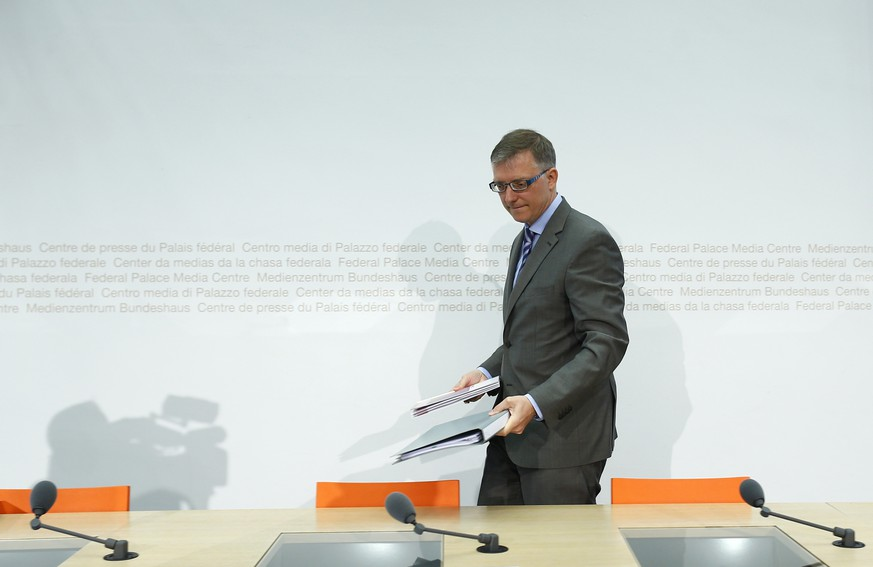 Switzerland's federal intelligence service NDB director Markus Seiler arrives for a news conference in Bern May 5, 2014. REUTERS/Ruben Sprich (SWITZERLAND - Tags: POLITICS)