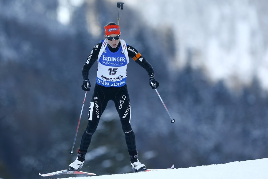 Fifth placed Selina Gasparin from Switzerland competes during the women's Individual 15 km competition at the Biathlon World Cup in Ruhpolding, Germany,  Thursday, Jan. 14, 2016. (AP Photo/Matthias Schrader)