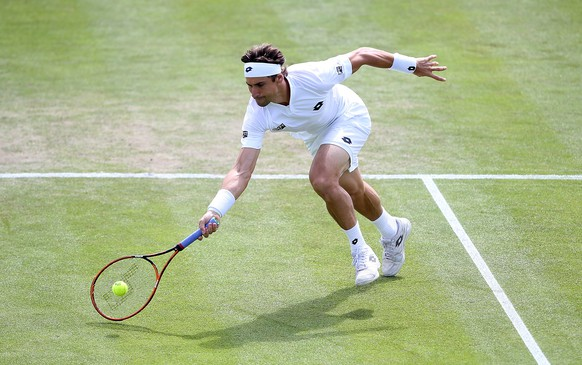 NOTTINGHAM, ENGLAND - JUNE 23:  David Ferrer of Spain in action against Marcos Baghdatis of Cyprus on day three of the Aegon Open Nottingham at Nottingham Tennis Centre on June 23, 2015 in Nottingham, England.  (Photo by Jan Kruger/Getty Images for LTA)
