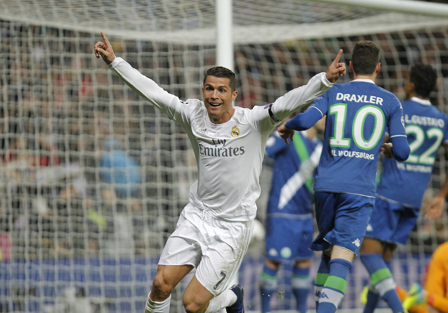 12.04.2016; Madrid; Fussball Champions League - Real Madrid - VfL Wolfsburg; Cristiano Ronaldo (Madrid) bejubelt ein Tor