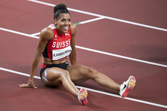 Mujinga Kambundji of Switzerland reacts after the women's athletics 200m semi final at the 2020 Tokyo Summer Olympics in Tokyo, Japan, on Monday, August 02, 2021. (KEYSTONE/Peter Klaunzer)