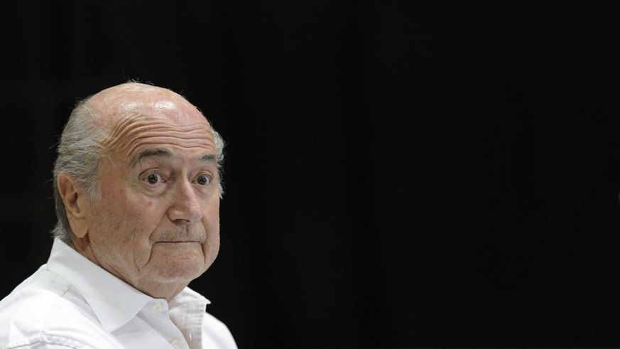 epa08899391 (FILE) - A file picture dated 22 August 2015 shows the then FIFA President, Joseph Blatter during a press conference for the 18th edition of the 'Sepp Blatter Football Tournament' in Ulrichen, Switzerland  (reissued 22 December 2020). The FIFA on 22 December 2020 announced it had filed a criminal complaint with Zurich's prosecutors which identifies the football governing body's former president Blatter's alleged direct involvement in criminal mismanagement.  EPA/LAURENT GILLIERON *** Local Caption *** 53009167