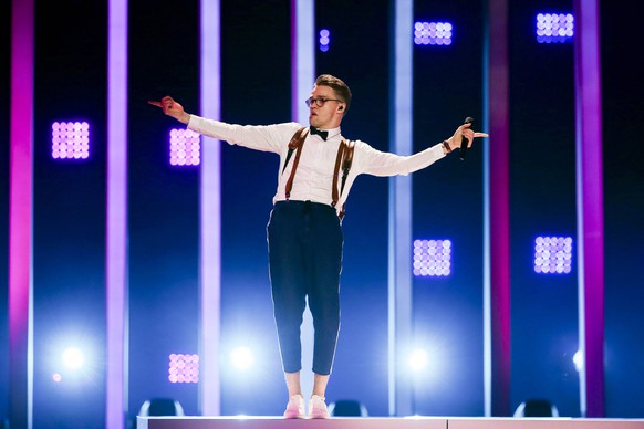epa06728414 Mikolas Josef representing the Czech Republic with 'Lie To Me' performs during rehearsals for the Grand Final of the 63rd annual Eurovision Song Contest (ESC) at the Altice Arena in Lisbon, Portugal, 11 May 2018. The Grand Final of the ESC 2018 is held on 12 May.  EPA/JOSE SENA GOULAO