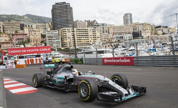 Mercedes driver Lewis Hamilton of Britain steers his car during the first practice session at the Monaco racetrack, in Monaco, Thursday, May 21, 2015. The Formula One Grand Prix of Monaco will be held on Sunday. (AP Photo/Gero Breloer)