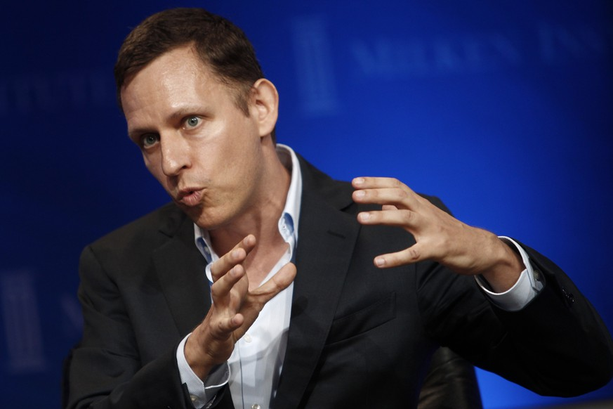 Peter Thiel, president of Thiel Capital, speaks at the annual Milken Institute Global Conference in Beverly Hills, California, U.S., on Monday, April 29, 2013. The Global Conference convenes chief executive officers, senior government officials and leading figures in the global capital markets to explore solutions to today's most pressing challenges in business, health, government and education. Photographer: Patrick T. Fallon/Bloomberg via Getty Images