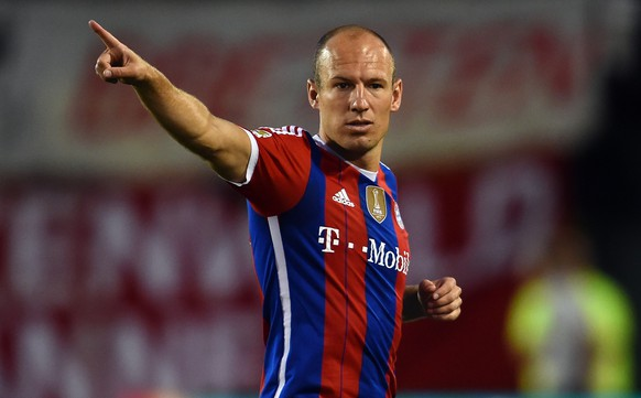 PORTLAND, OR - AUGUST 06: Arjen Robben of Muenchen gestures during the MLS All-Star game between the MLS All-Stars and FC Bayern Muenchen at Providence Park on August 6, 2014 in Portland, Oregon.  (Photo by Lars Baron/Bongarts/Getty Images)
