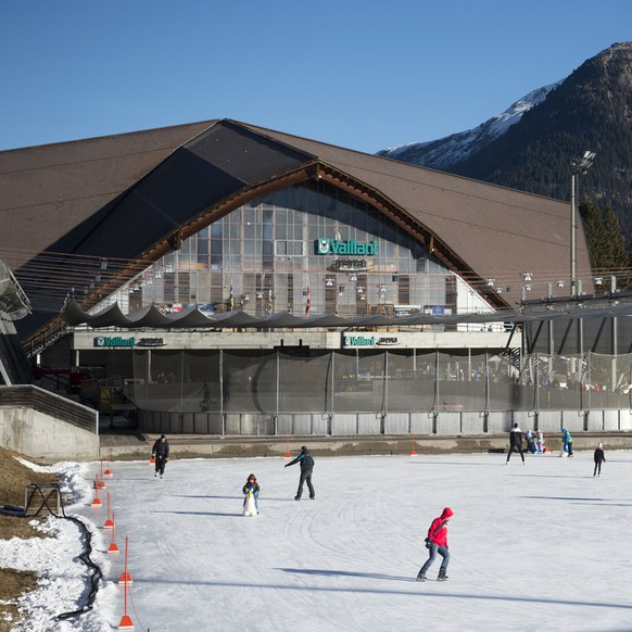 Exterior view of the Vaillant Arena, pictured during the 89th Spengler Cup ice hockey tournament in Davos, Switzerland, on Monday, December 28, 2015. (KEYSTONE/Gian Ehrenzeller)
