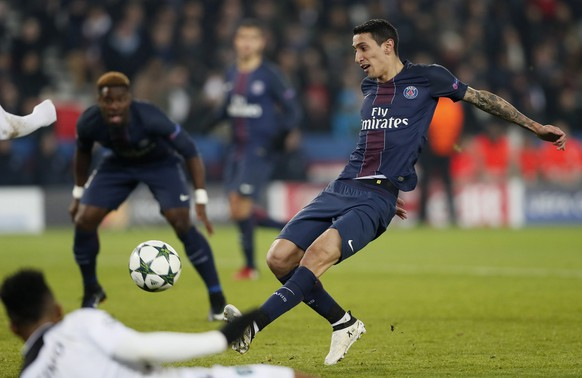 epa05663160 Angel Di Maria of Paris Saint Germain  scores a goal during the UEFA Champions League group A soccer match between Paris Saint Germain and PFC Ludogorets Razgrad at the Parc des Princes stadium in Paris, France, 06 December 2016.  EPA/IAN LANGSDON