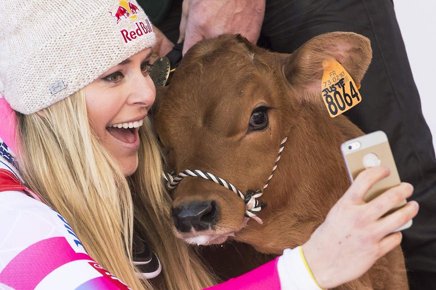 Lindsey Vonn of the USA celebrates on the podium and takes a selfie with a cow after she won the women's Downhill race at the FIS Alpine Ski World Cup, in Val d'Isere, France, Saturday, December 20, 2014. (KEYSTONE/Jean-Christophe Bott)