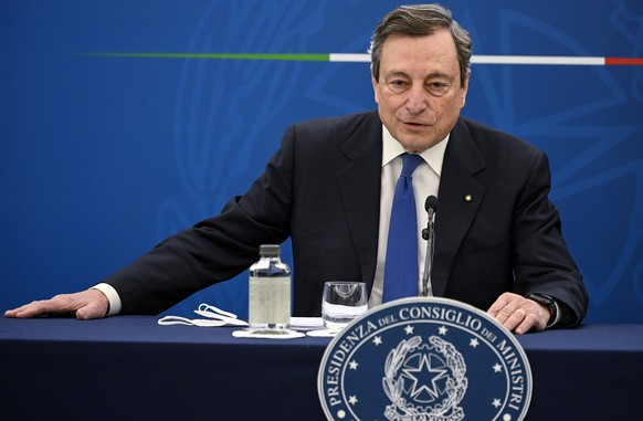 Mario Draghi speaks during a press conference in Rome Thursday, April 8, 2021. (Riccardo Antimiani/Pool Photo via AP)
