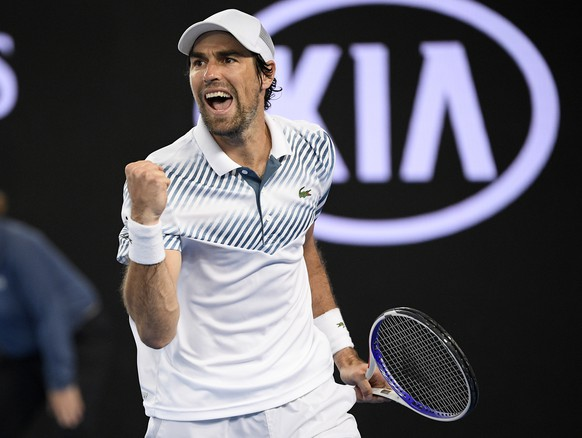 France's Jeremy Chardy reacts after winning the third set against Germany's Alexander Zverev at the Australian Open tennis championships in Melbourne, Australia, Thursday, Jan. 17, 2019. (AP Photo/Andy Brownbill)
