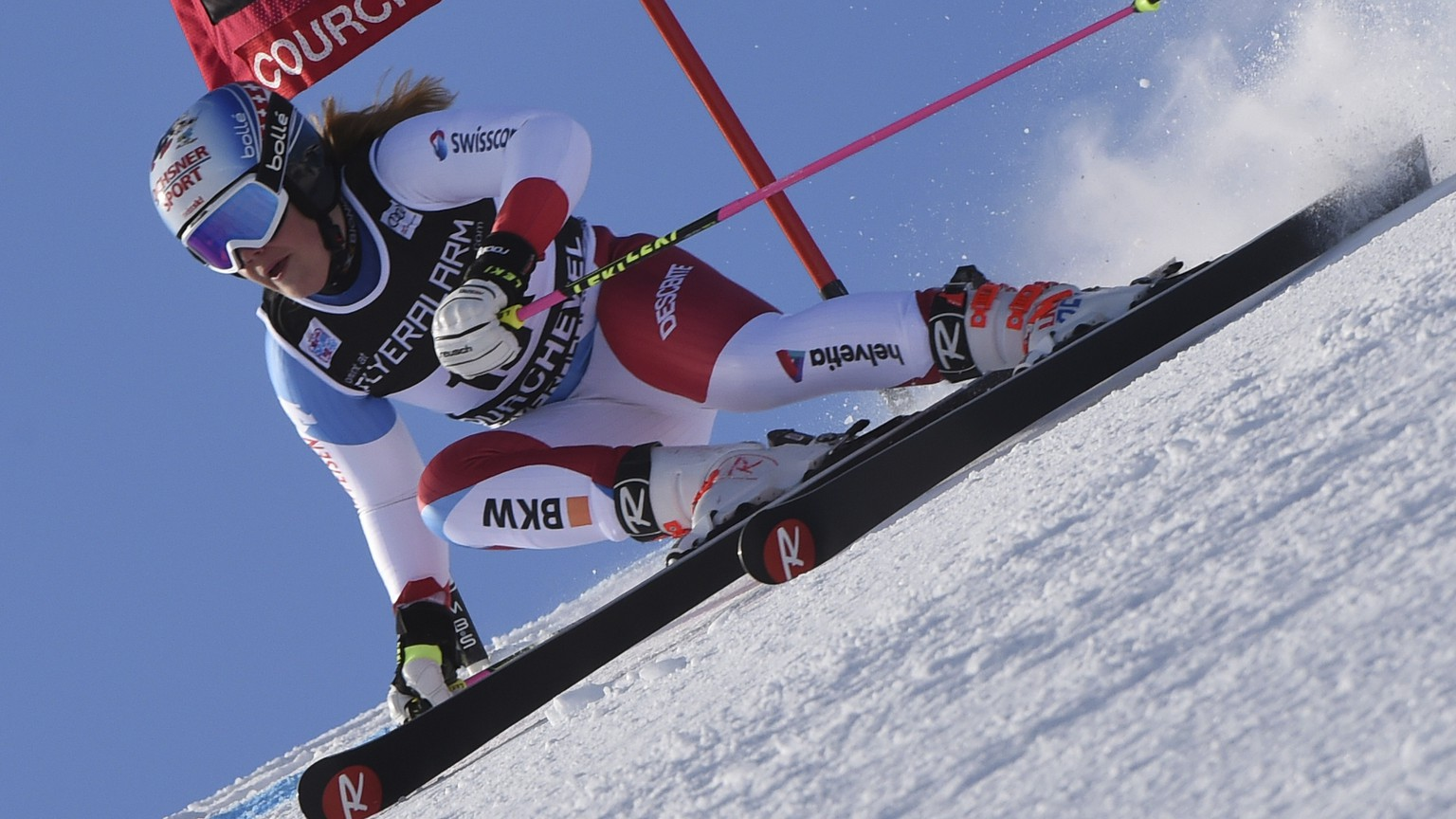 Switzerland's Melanie Meillard competes during an alpine ski, women's World Cup giant slalom in Courchevel, France, Tuesday, Dec. 19, 2017. (AP Photo/Marco Tacca)