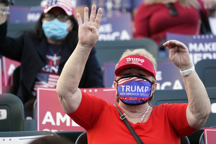 A supporter of President Donald Trump chants