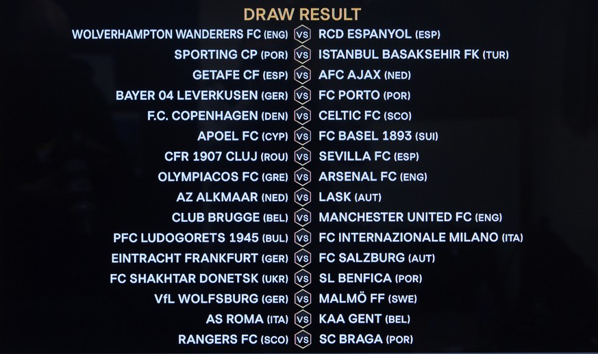 The match fixtures are shown on a TV screen during the UEFA Europa League 2019/20 round of 32 draw, at the UEFA Headquarters in Nyon, Switzerland, Monday, December 16, 2019. (KEYSTONE/Laurent Gillieron)