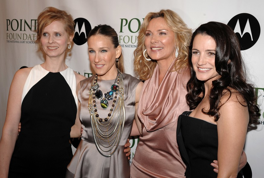 FILE - In this April 7, 2008 file photo, from left,  Cynthia Nixon, Sarah Jessica Parker, Kim Cattrall and Kristin Davis arrive at the 2008 Point Foundation Benefit in New York. Cattrall lashed out at her former