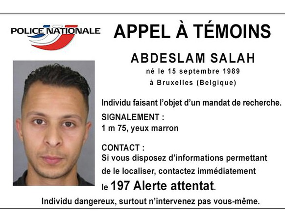 """Handout picture shows Belgian-born Abdeslam Salah seen on a call for witnesses notice released by the French Police Nationale information services on their twitter account November 15, 2015. Police have identified two more French nationals who blew themselves up in the coordinated attacks in Paris on Friday, the prosecutor said, and also put out a request for a Belgian-born man they warned was dangerous.The two men, aged 20 and 31, were suicide bombers at the Stade de France and at a bar in the 11th district. On their Twitter feed the police said they were also seeking a Belgian-born man, Abdeslam Salah in connection with the attack, describing him """"dangerous"""". REUTERS/Police Nationale/Handout via ReutersATTENTION EDITORS - THIS PICTURE WAS PROVIDED BY A THIRD PARTY. THIS PICTURE IS DISTRIBUTED EXACTLY AS RECEIVED BY REUTERS, AS A SERVICE TO CLIENTS. EDITORIAL USE ONLY. NOT FOR SALE FOR MARKETING OR ADVERTISING CAMPAIGNS. NO SALES. NO ARCHIVES.      TPX IMAGES OF THE DAY"""