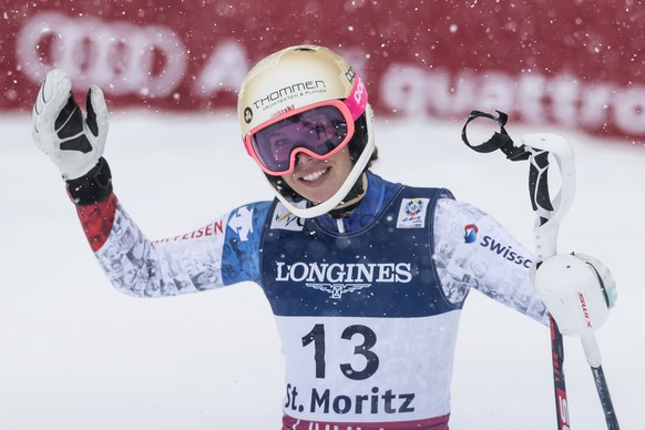 Michelle Gisin of Switzerland reacts in the finish area during the women's combined slalom race at the 2017 Alpine Skiing World Championships in St. Moritz, Switzerland, Friday, Feb. 10, 2017. (Peter Schneider/Keystone via AP)