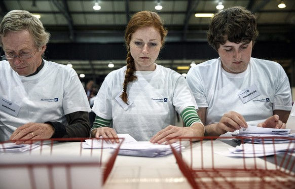 epaselect epa04406624 Ballots are counted at the Aberdeen Exhibition and Conference Centre during the Scottish referendum in Aberdeen, Scotland, 18 September 2014. Scots turned out across Scotland to vote in the crucial Scottish independence referendum.  EPA/ROBERT PERRY