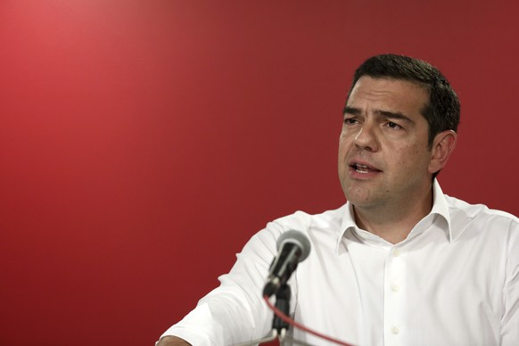 Greece's Prime Minister Alexis Tsipras makes statements at the Syriza party headquarters in Athens on Sunday, May 26, 2019. Tsipras calls for a snap national election following European election loss. (AP Photo/Yorgos Karahalis)