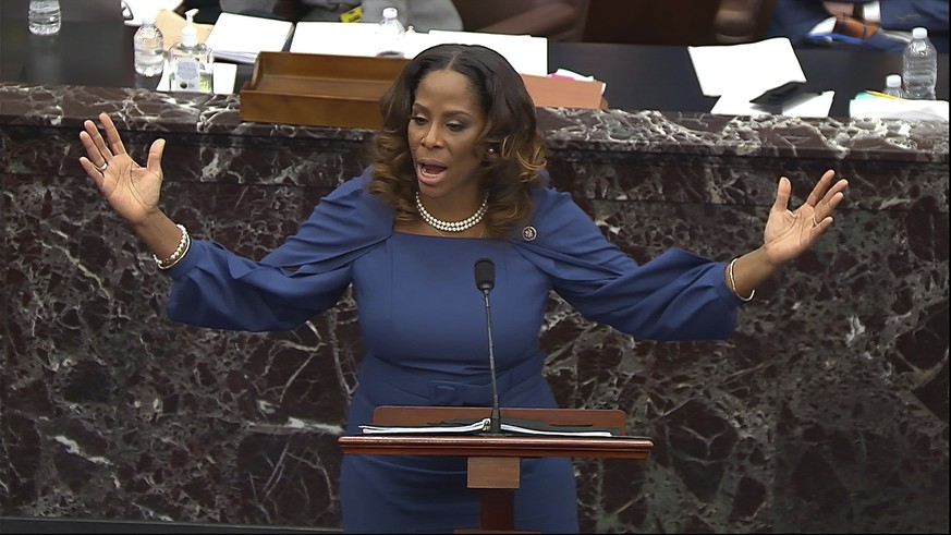 In this image from video, Del. Stacey Plaskett, D-Virgin Islands, speaks during the second impeachment trial of former President Donald Trump in the Senate at the U.S. Capitol in Washington, Wednesday, Feb. 10, 2021. (Senate Television via AP)
