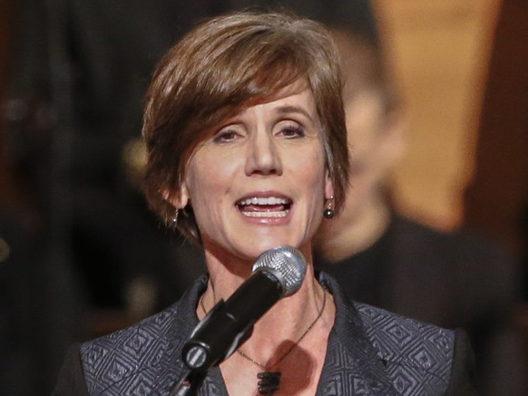 epa05762122 (FILE) - A file photo dated 01 December 2014 shows the back then US Attorney for the Northern District of Georgia, Sally Q. Yates speaking at Ebenezer Baptist Church in Atlanta, Georgia, USA. US President Donald Trump has sacked acting US Attorney General Sally Yates on 30 January 2017, after Yates ordered justice department lawyers not to defend Trump's executive order banning travel for people from Muslim-majority countries, media reported. US attorney for the Eastern District of Virginia, Dana Boente has replaced Yates as acting attorney general.  EPA/ERIK S. LESSER