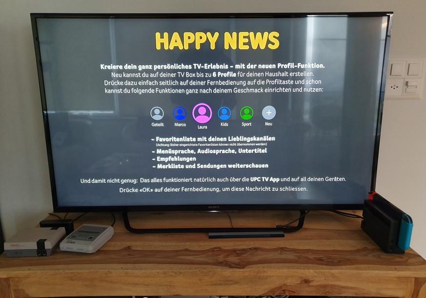 UPC-TV-Nutzer können neu in der TV Box Nutzerprofile mit eigener