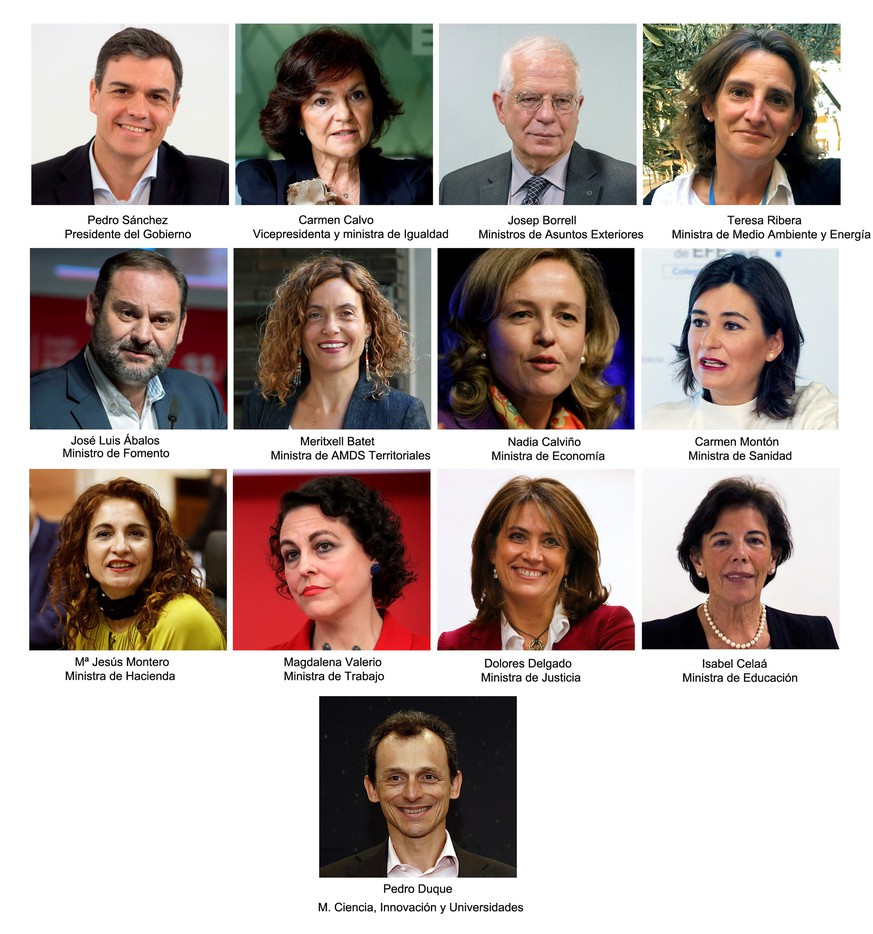 epa06788909 (FILE) - A composite photo released on 06 June 2018 of Spanish ministers appointed by new Spanish Prime Minister Pedro Sanchez. The Cabinet is made up by nine women and three men. Sanchez took office after Socialist Party won the vote of no confidence against his predecessor Mariano Rajoy at Parliament several days ago. (L-R, up) Spanish Prime Minister Pedro Sanchez; Deputy Prime Minister and Equality Minister, Carmen Calvo; Foreign Affairs Minister, Josep Borrell; Enmironment and Energy Minister, Teresa Ribera. (L-R, 2nd row) Spanish Public Works Minister, Jose Luis Abalos; Regional Administration Minister, Meritxell Batet; Economy Minister, Nadia Calvino; Health Minister, Carmen Monton. (L-R, 3rd row) Treasure Minister, Maria Jesus Montero; Labour Minister, Magdalena Valerio; Justice Minister, Dolores Delgado; Education Minister, Isabel Celaa. (C, down) Science, Innovation and Universities, astronaut Pedro Duque.  EPA/FILES