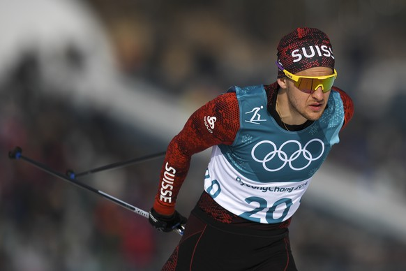 Roman Furger of Switzerland in action during the men Cross-Country Skiing 15 km free race in the Alpensia Biathlon Center during the XXIII Winter Olympics 2018 in Pyeongchang, South Korea, on Friday, February 16, 2018. (KEYSTONE/Gian Ehrenzeller)
