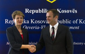 Kosovo Justice Minister Hajredin Kuci, right, meets Swiss Minister of Justice Simonetta Sommaruga in the Kosovo capital Pristina on Friday, April, 4, 2014. Sommaruga is in official two day visit to Kosovo as part of her tour to the region. (AP Photo/Visar Kryeziu)